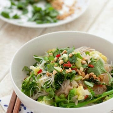 Pickled Ginger Noodle Salad in a bowl topped with coriander, chopped peanuts and fresh red chilli.