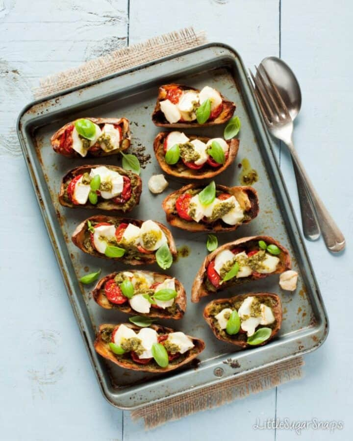 Loaded Potato Skins with Pesto and Goats Cheese