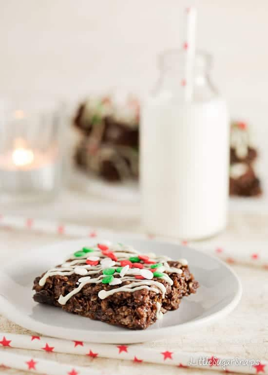 Chocolate Flapjack with Christmas Holiday sprinkles and a bottle of milk