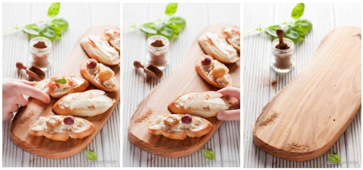 collage of 3 images showing children taking crostini off a board