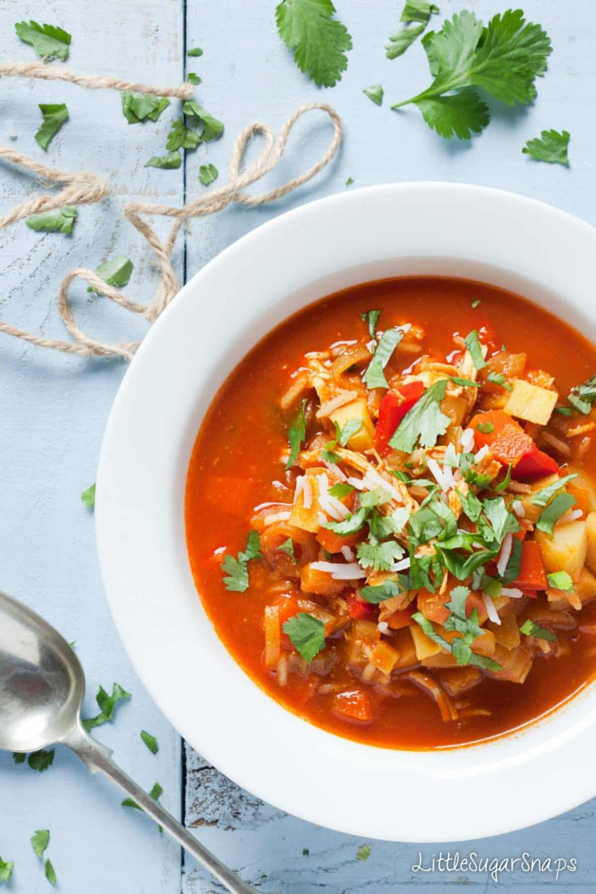 Red coloured Mulligatawny Soup in a bowl garnished with fresh coriander