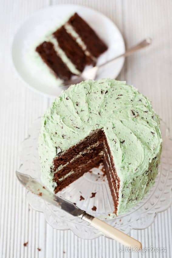 Mint-Choc-Chip Layer Cake cut into with a slice taken out