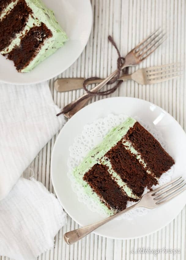 Chocolate layer cake slices sandwiched & covered with green mint buttercream