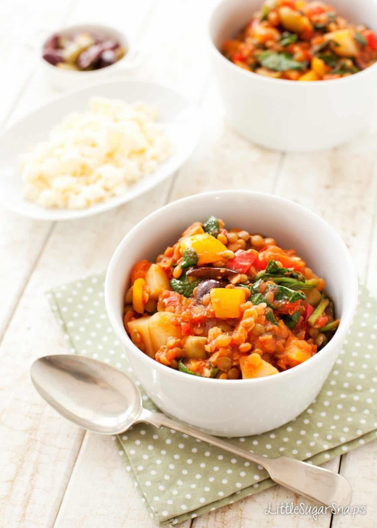 veggie Lentil Olive Stew in a bowl
