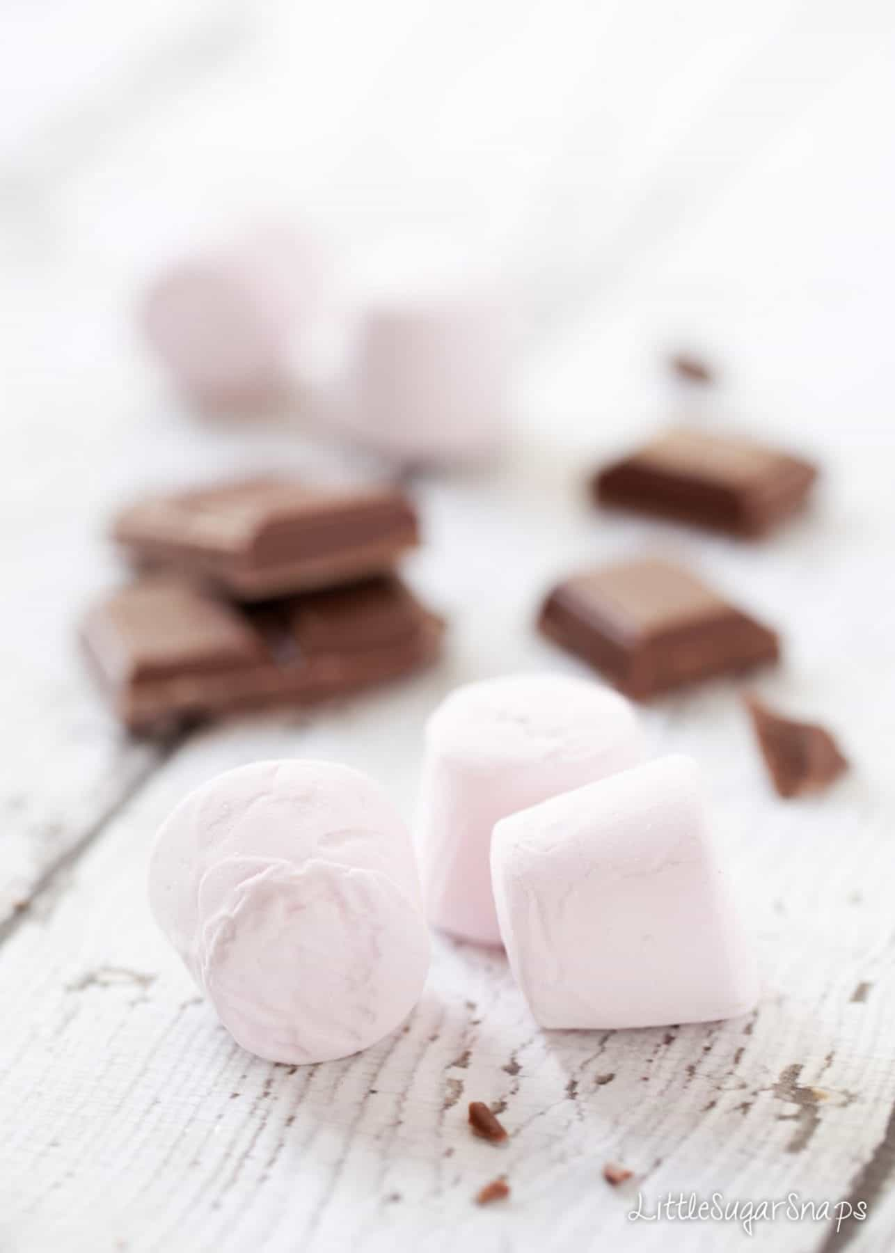 Chocolate and marshmallows - ingredients for Millionaire's Caramel Krispie Squares