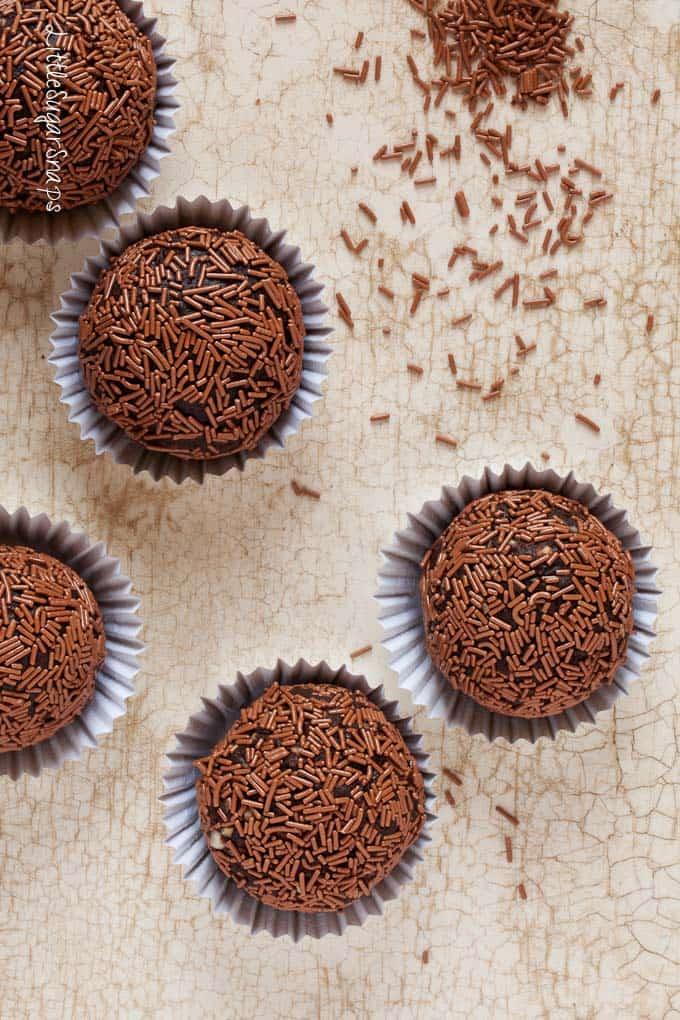 Chocolate truffles covered in vermicilli strands