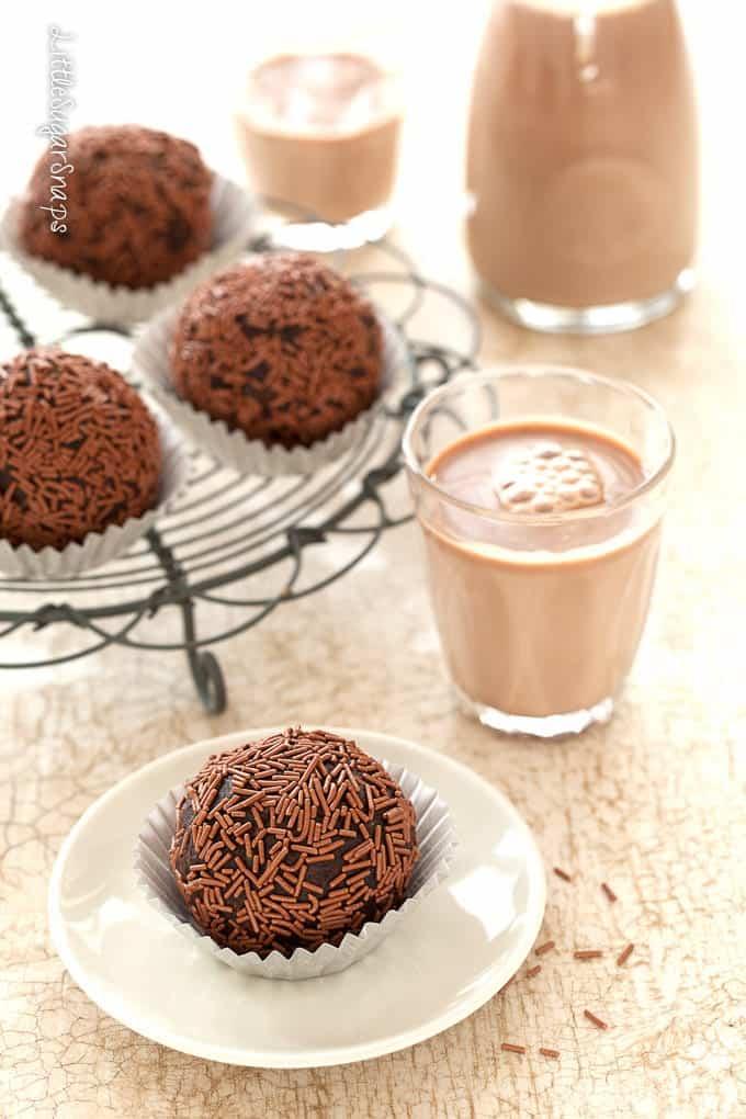 Cake truffle balls served with chocolate milkshake
