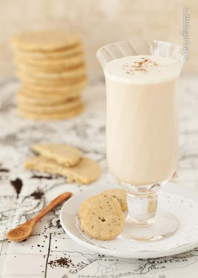 Chai Tea shortbread served with a glass of chai spiced tea