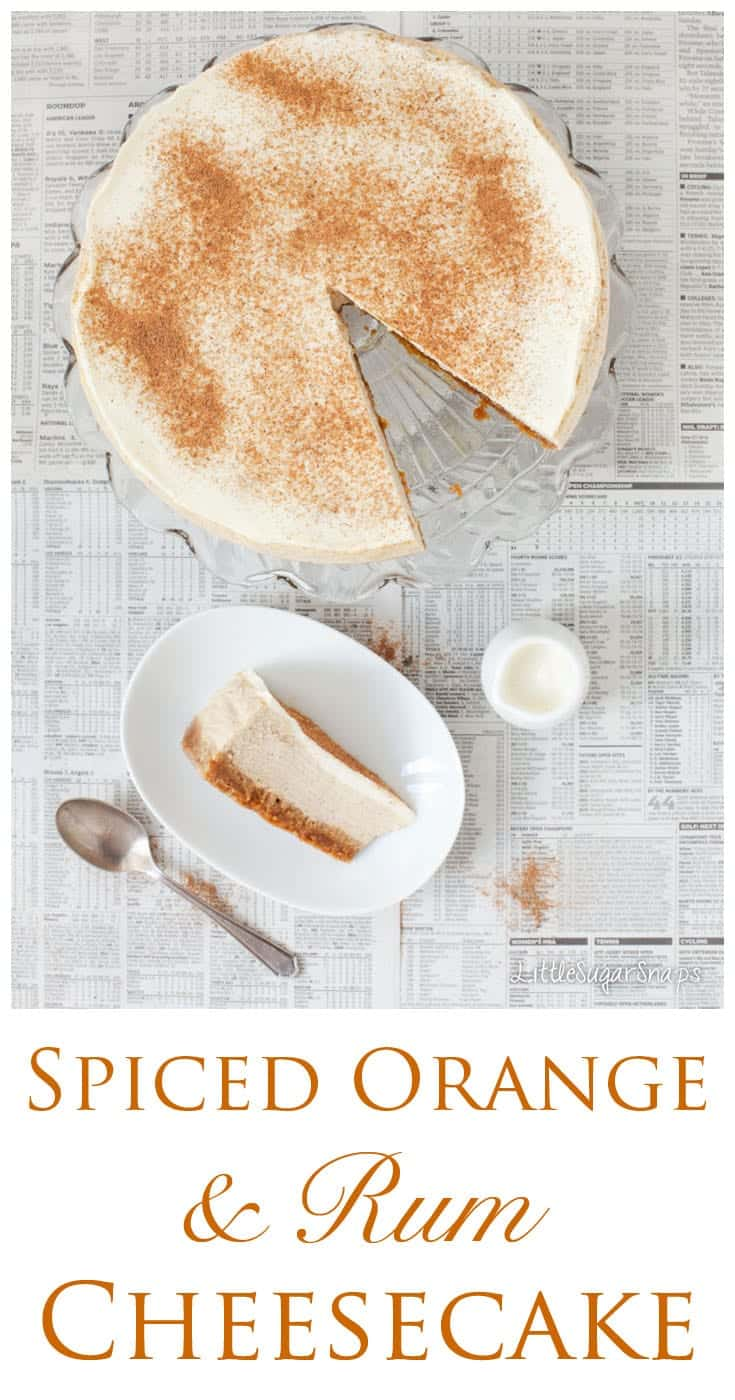 This Spiced Orange Rum Cheesecake is soft & lusciously creamy. Enjoy flavours of ginger, cinnamon, & nutmeg with just a hint of tropical orange & rum.