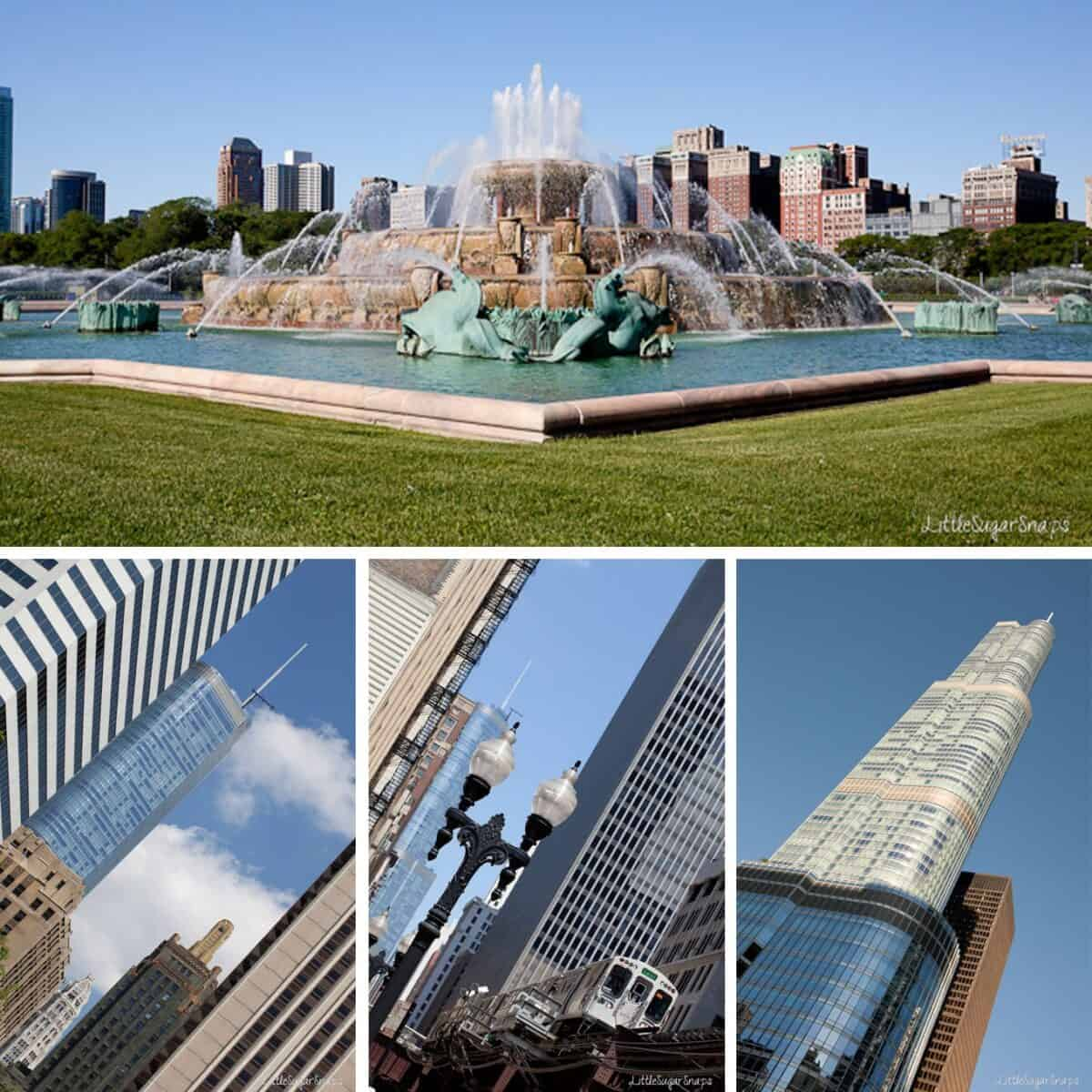 Collage of views around Chicago
