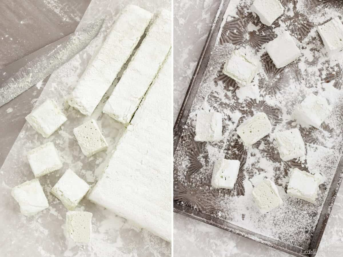 Chopping up marshmallow and dusting in icing sugar on a baking tin