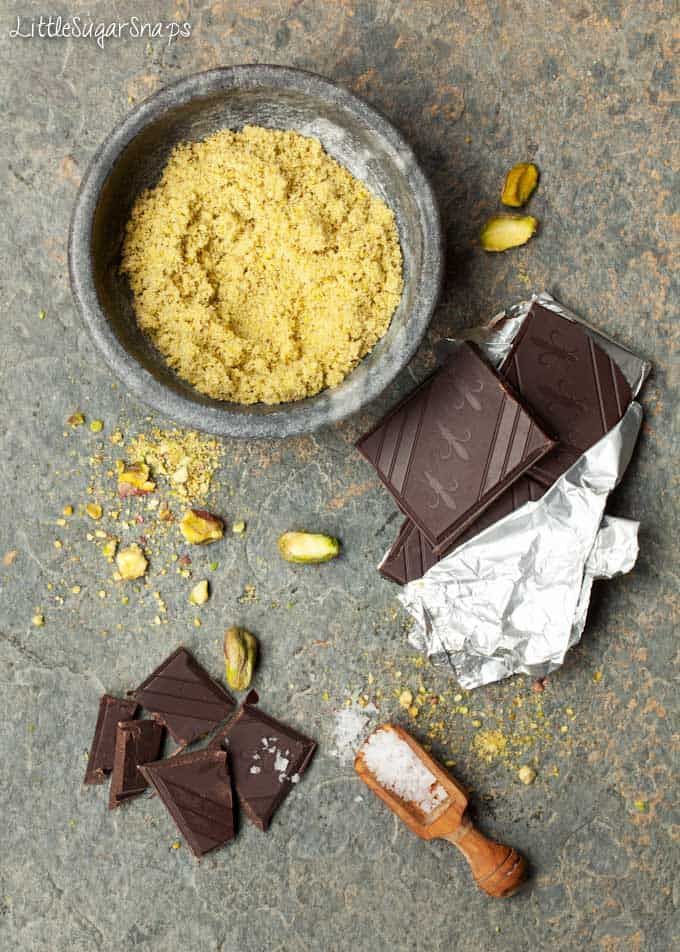 Ingredients for dark chocolate, pistachio & sea salt biscuits
