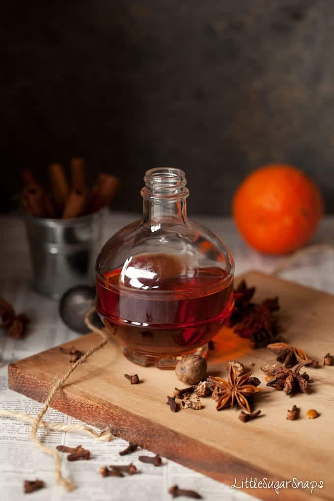 Spice-infused gin with star anise, cloves and nutmeg alongside