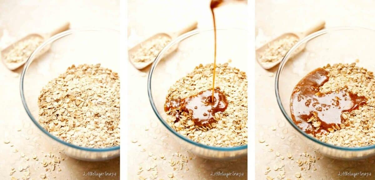 Collage of oat bars being made: mixing oats with melted butter and sugar