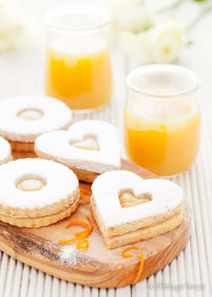 Orange Caramel Linzer Cookies