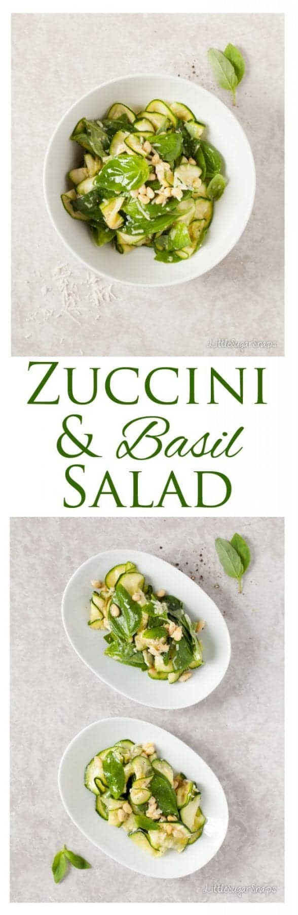Zucchini Basil Salad is bright, flavourful, quick & simple to make and incredibly versatile. With flavours reminiscent of pesto it is good enough to serve alongside steak, chicken or fish, but equally good on a table of mixed small plates.