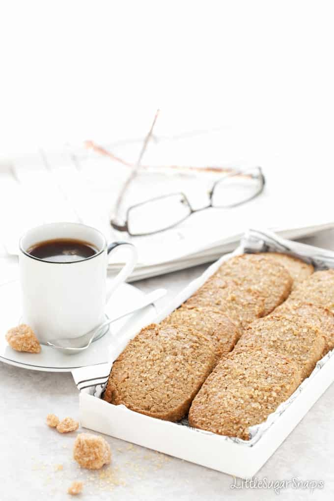 A tray of Ginger Spiced Rye Biscuits with demerara topping