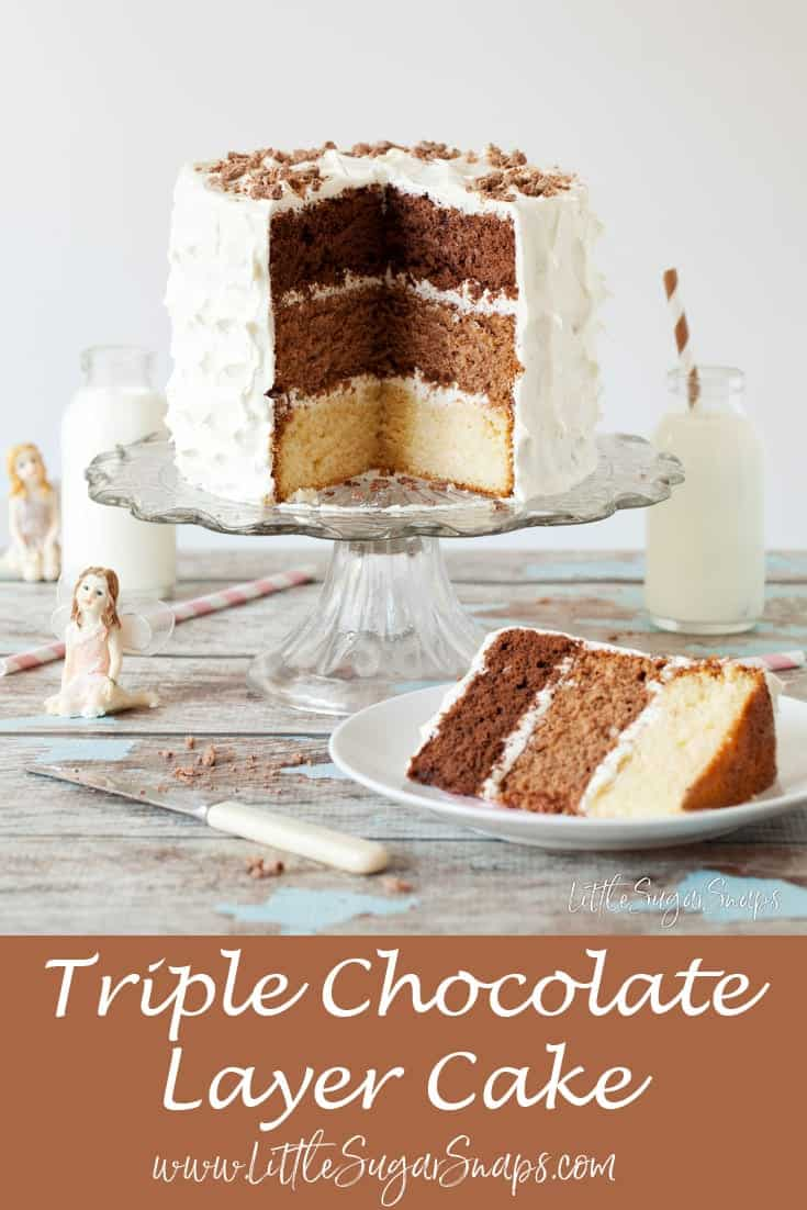 Triple Chocolate Layer Cake #chocolatecake #triplechocolate #chocolatelayercake