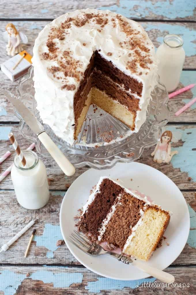 Triple Chocolate Layer Cake cut into with layers of white, milk and dark chocolate sponge