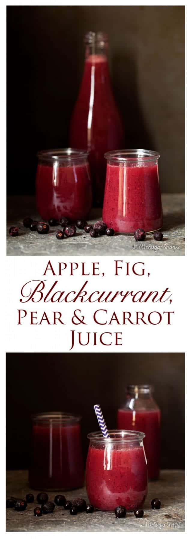 Apple, Fig, Blackcurrant, Pear & Carrot Juice is a wonderful twist on plain apple juice. It's packed with nutritious goodies, colourful and tasty. Also really easy to make.