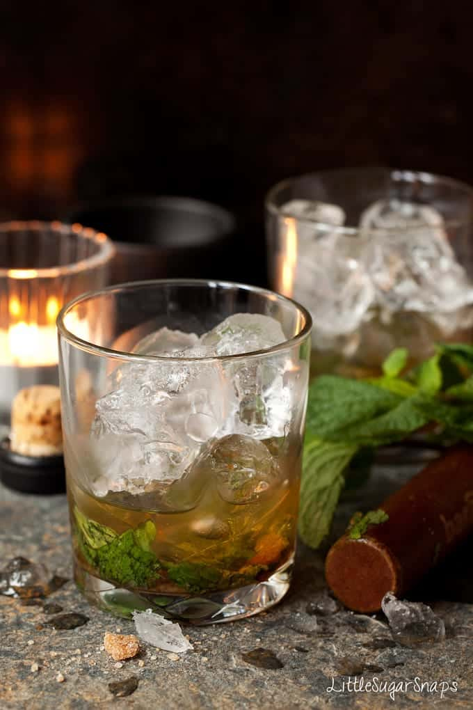 Ingredients for Whisky Ginger Julep in a glass with ice