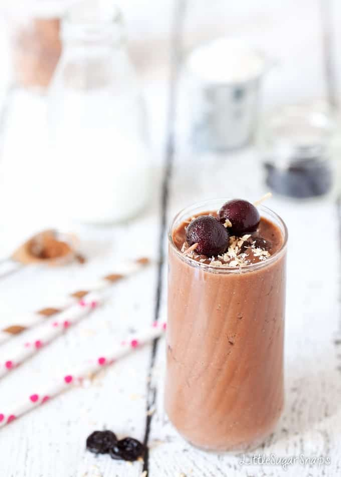 Healthy version of Chocolate Cherry Coconut Shake drink in a glass