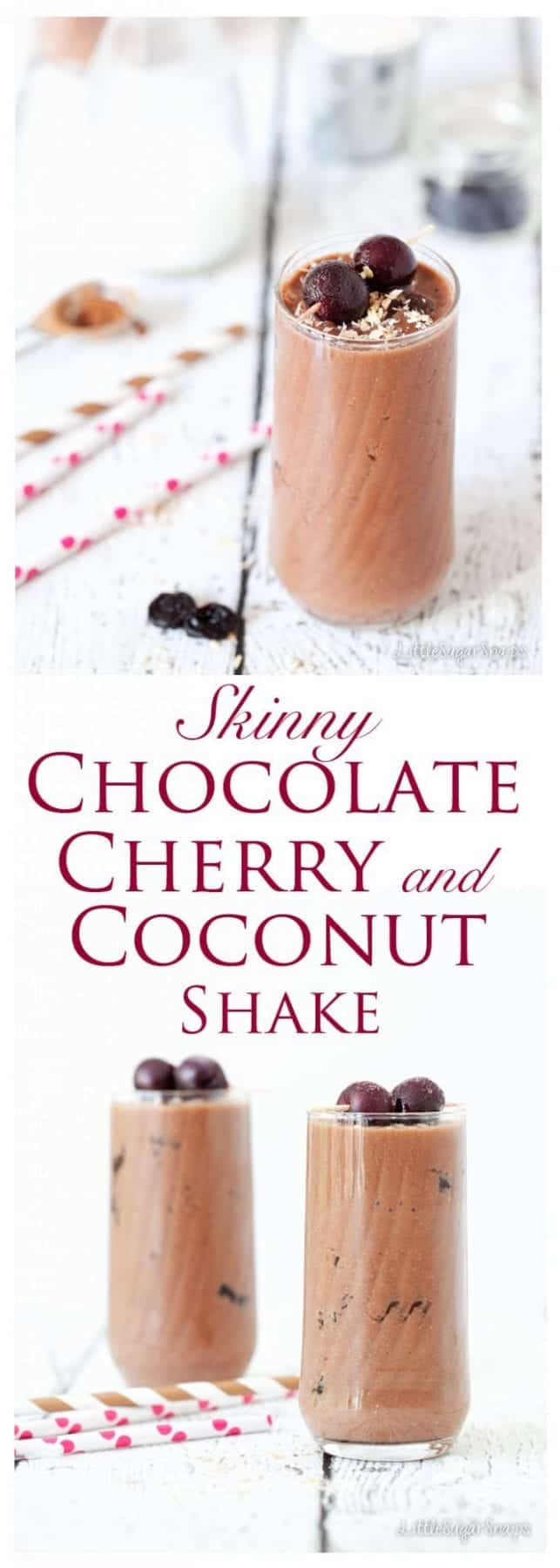 Skinny Chocolate Cherry Coconut Shake: Black Forest Gâteau meets ice-cold milk. Thick, luxurious, decadent AND healthy. Summertime drinks don't have to be laden with calories to be cool.