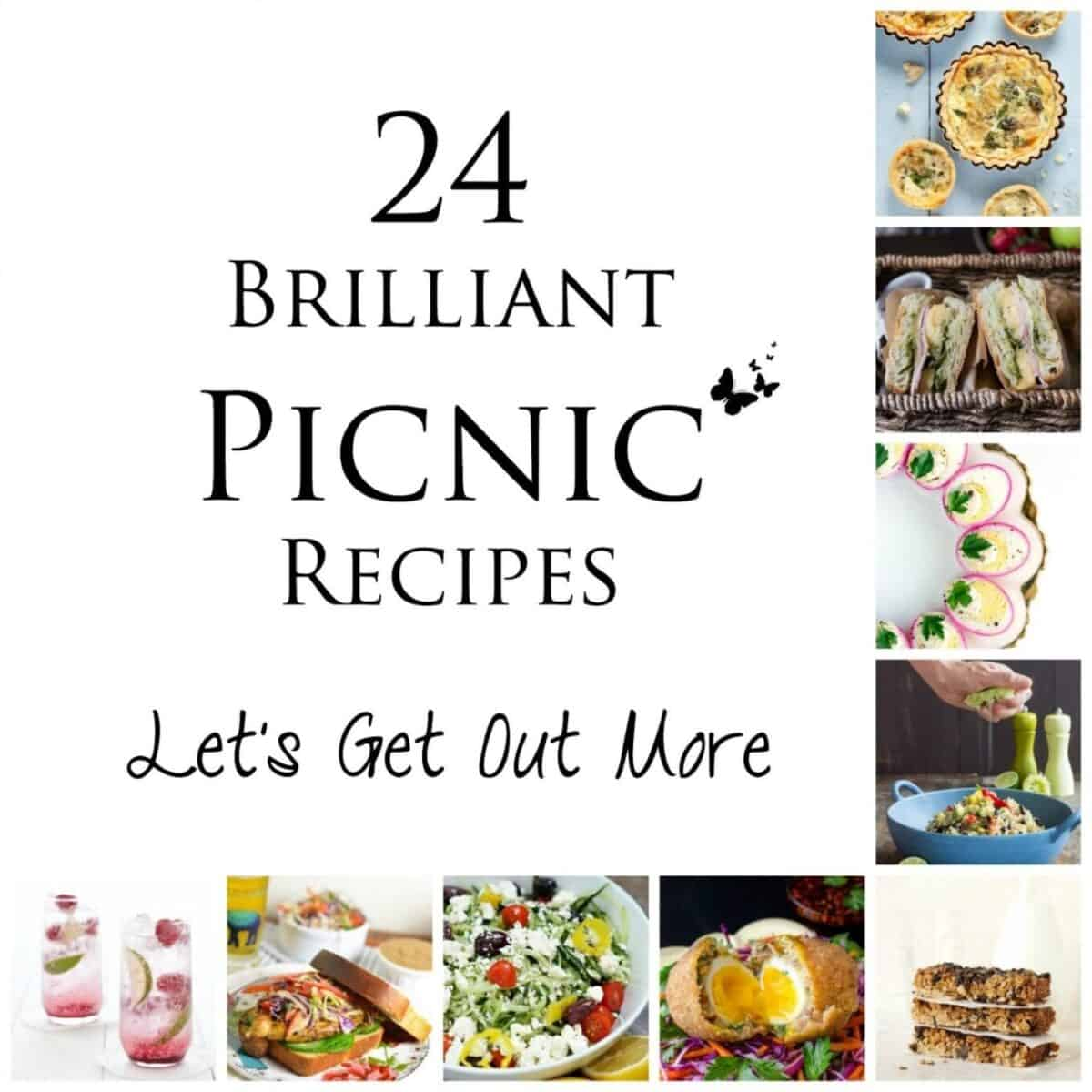 Various images of picnic suitable food with text overlay