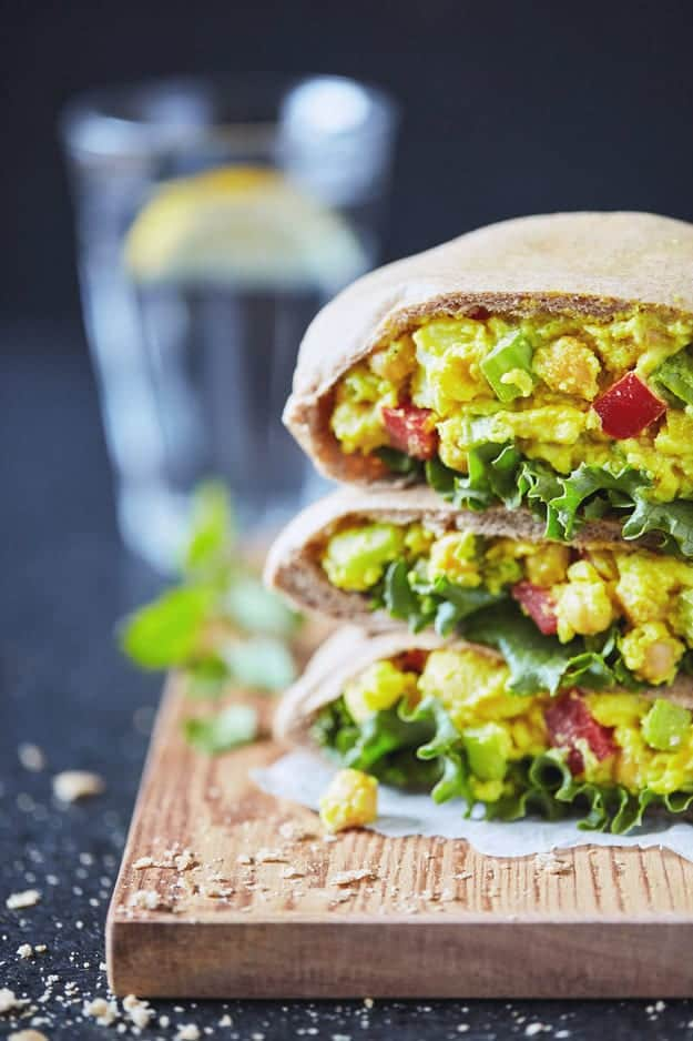 Curry Chickpea Salad Pitas