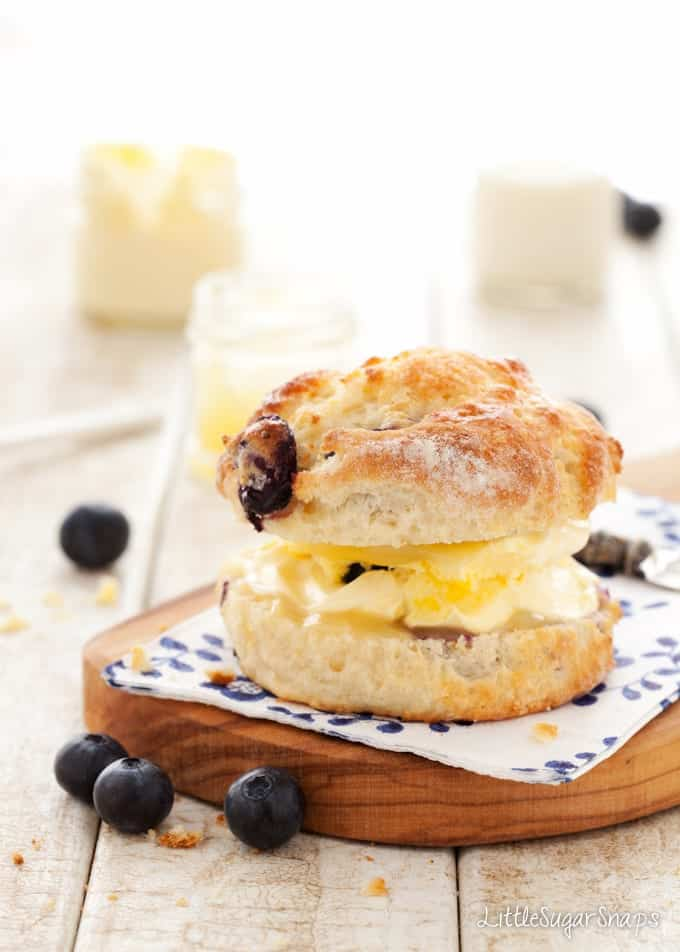 Blueberry Scone filled with lemon curd and clotted cream