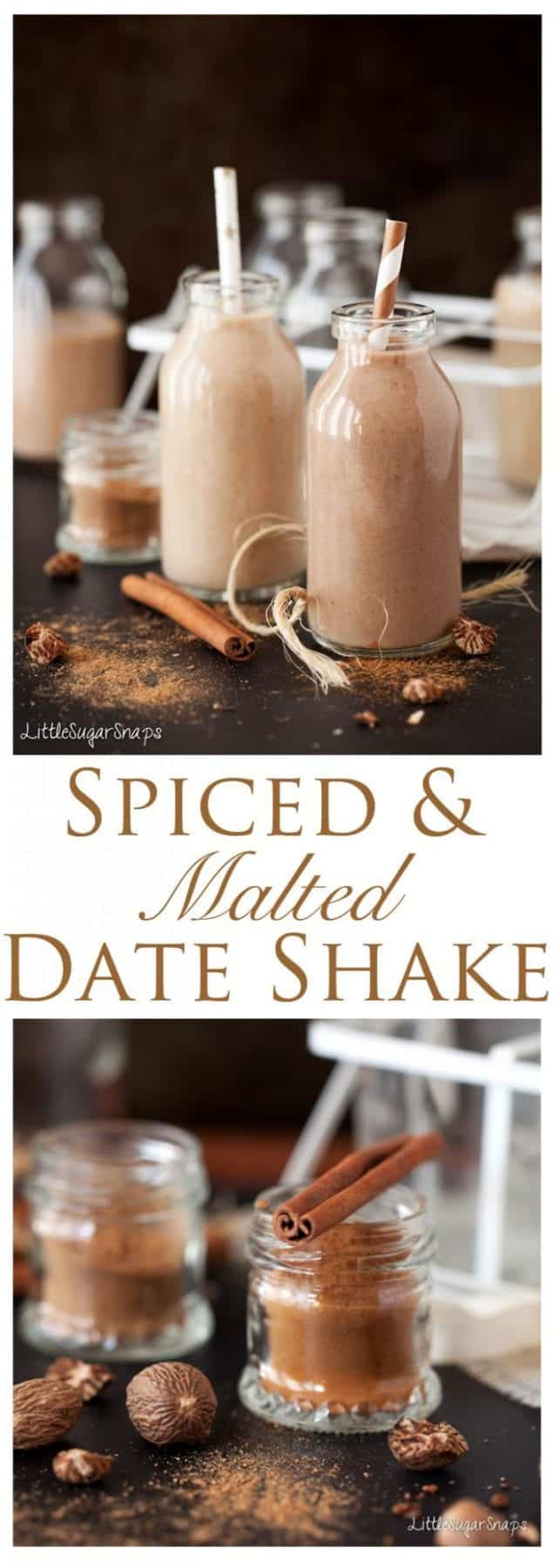 Spiced Malted Date Shake: This twist on the classic brings in flavors of cinnamon, nutmeg & malt. This spiced malted date shake is thick & creamy yet healthy too. Also comes in a chocolate variety!