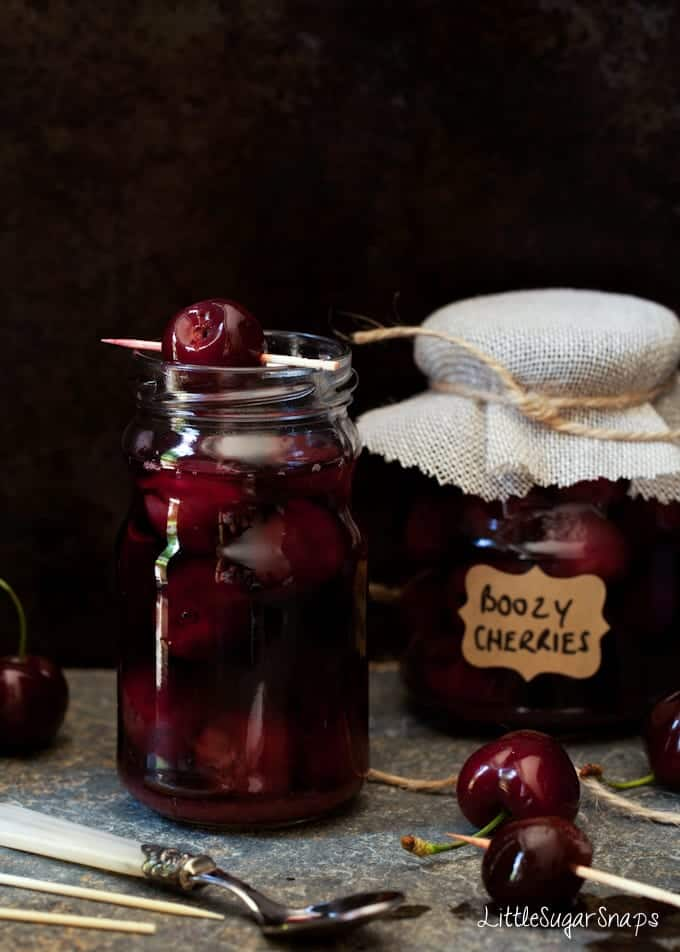 A jar of bourbon infused cherries