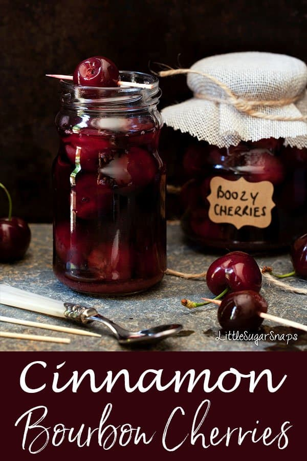 Cinnamon Bourbon Cherries: fresh, pitted cherries cooked briefly in sweetened bourbon and gently infused with cinnamon spice #bourboncherries #cinnamonbourbon #cinnamoncherries #boozycherries #boozyfruit #cinnamonbourboncherries #cherryrecipe #cherries