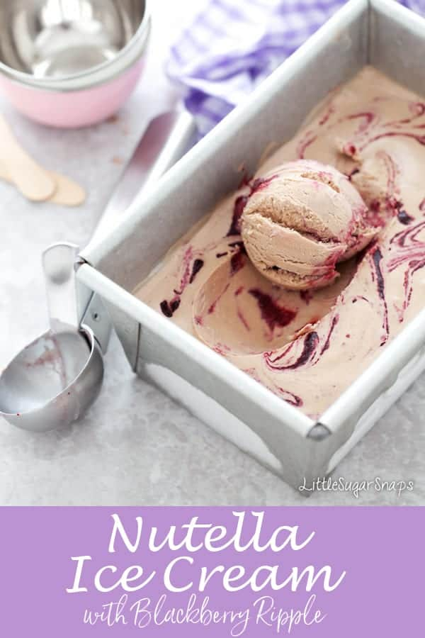 Nutella Ice Cream with Blackberry Ripple #nutellaicecream #nutella #nutellarecipe #blackberryripple #chocolateicecream