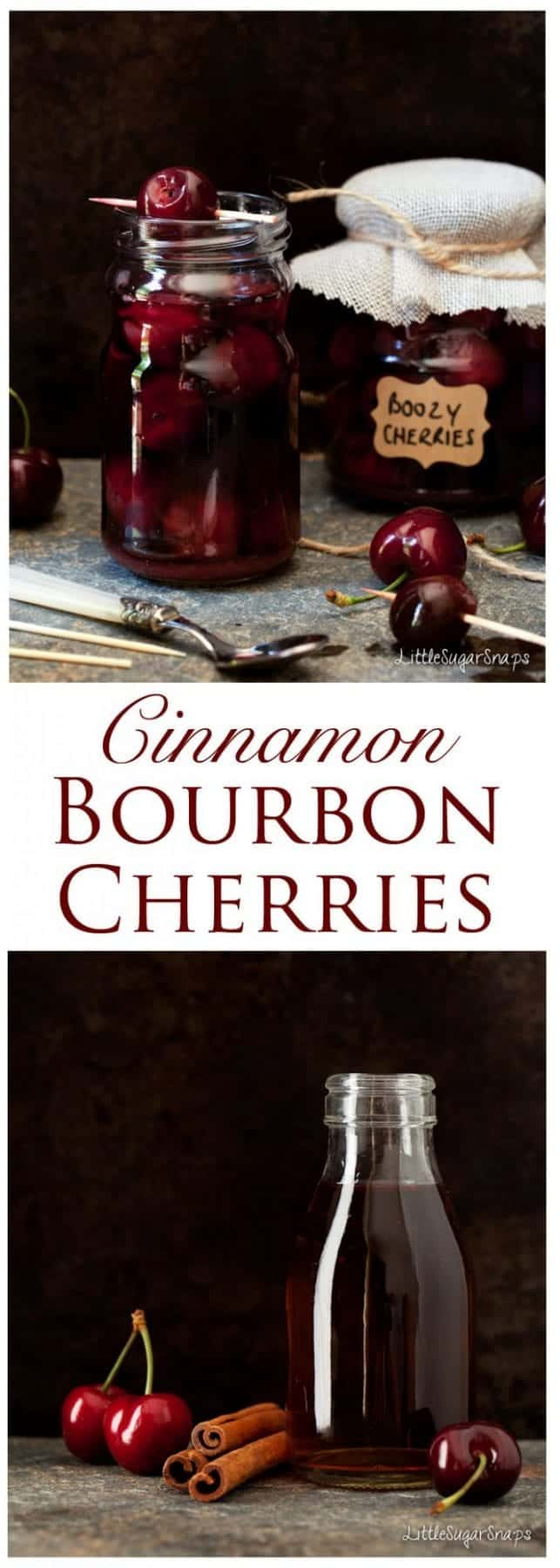 Cinnamon Bourbon Cherries: fresh, pitted cherries cooked briefly in sweetened bourbon and gently infused with cinnamon spice.Great as dessert, as a cocktail garnish or as an impressive edible gift