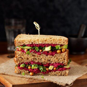 Beet Hummous Roasted Chickpea Avocado Sandwich