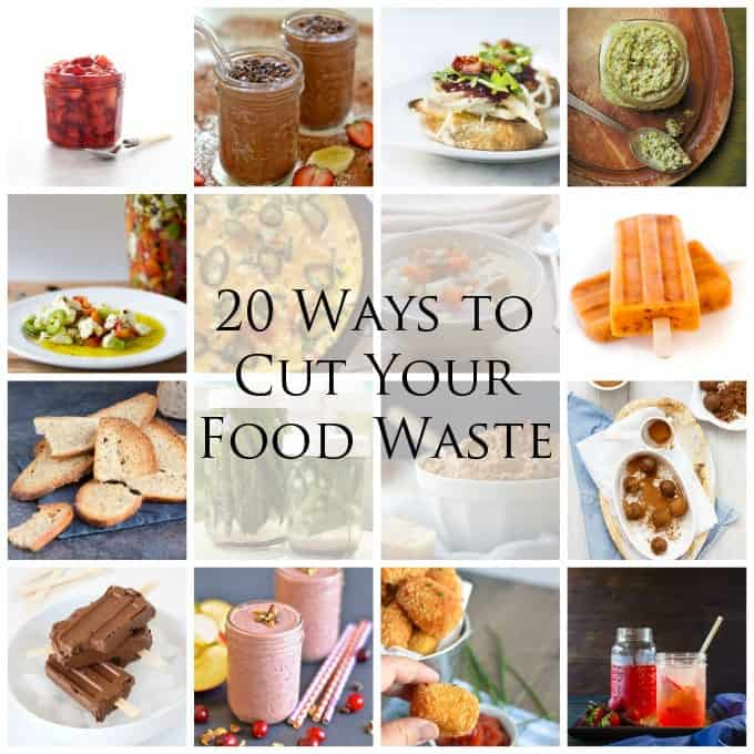 Collage of images with text overlay about cutting food waste