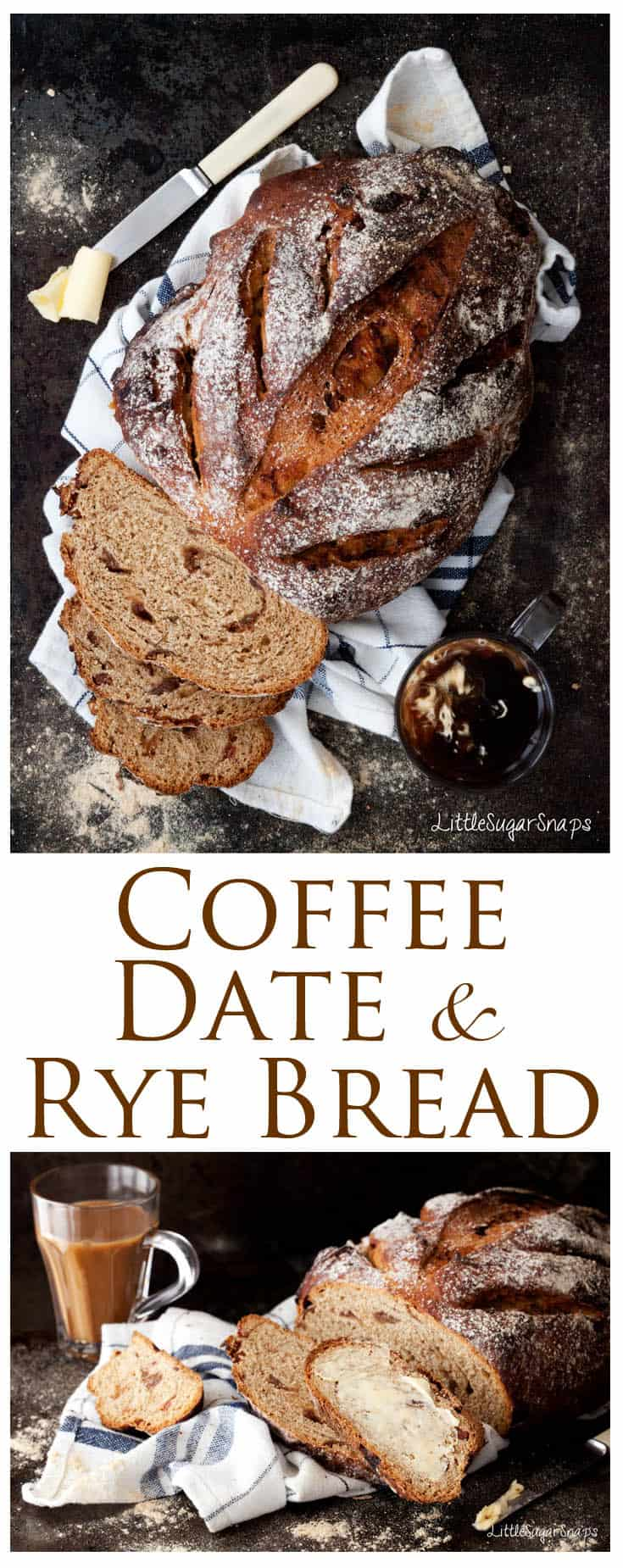 Homemade Coffee Date Rye Bread is worth taking your time over. Enjoy it fresh and thickly sliced. A dab of butter is all it needs. This combination of sweet dates, bitter coffee and sour rye makes a great simple breakfast.