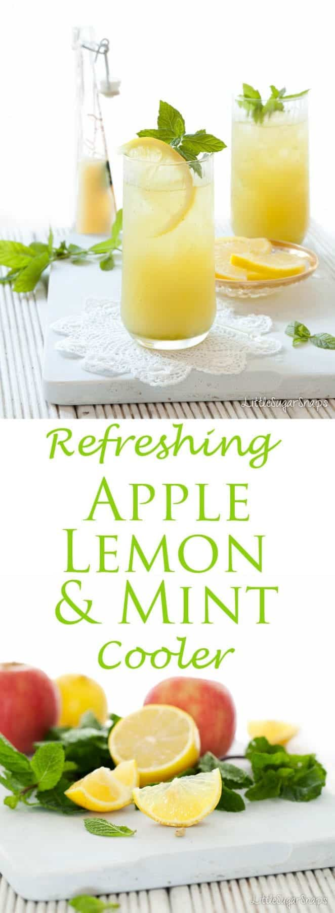 This Fruit Cooler is a simple blend of apple juice, lemon juice and fresh mint. It is fresh, fruity, tangy and amazingly thirst quenching. #fruitcooler #applecooler #applemint #juice