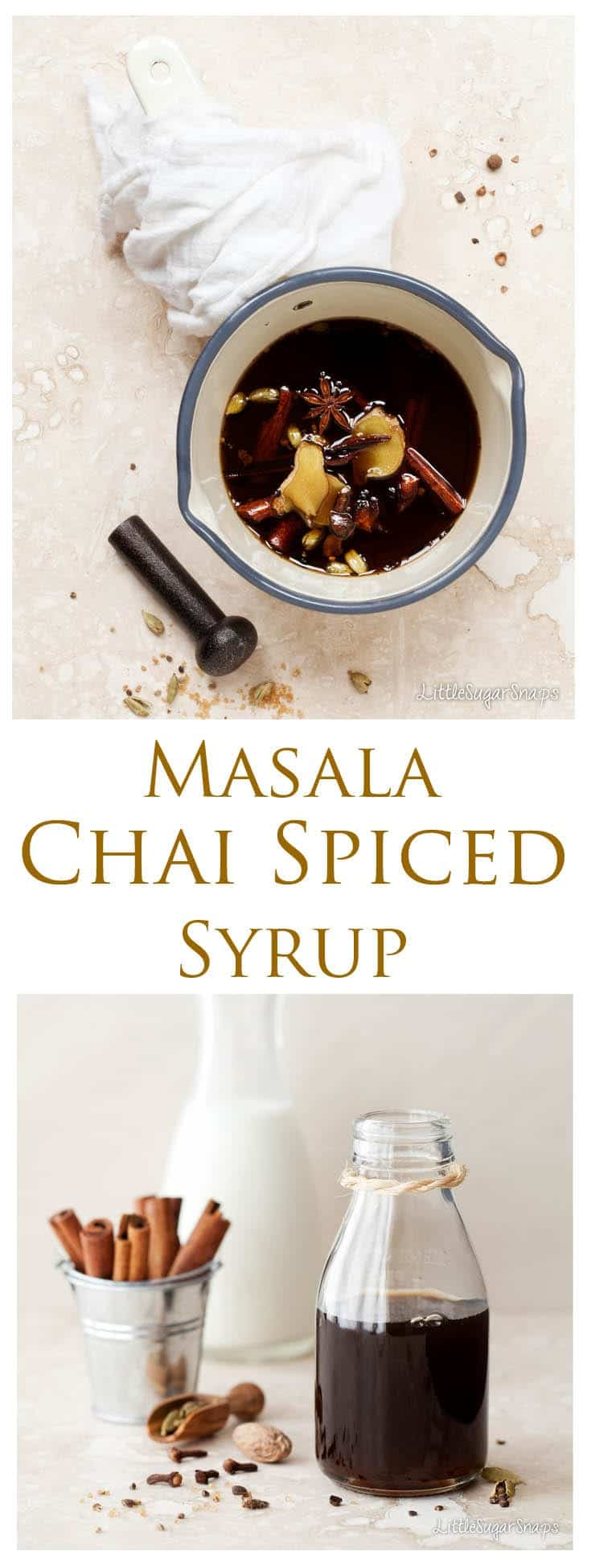 Masala Chai Syrup is a sweet, dark & intense syrup that is useful for flavouring drinks and recipes with a delicious blend of Indian spices. Who needs coffee-shop chai latte when this syrup is so easy & cheap to make at home.