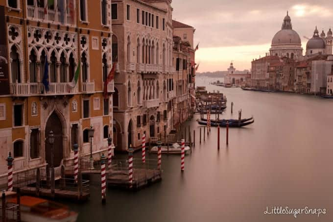View along the Grand Canal in Venice.