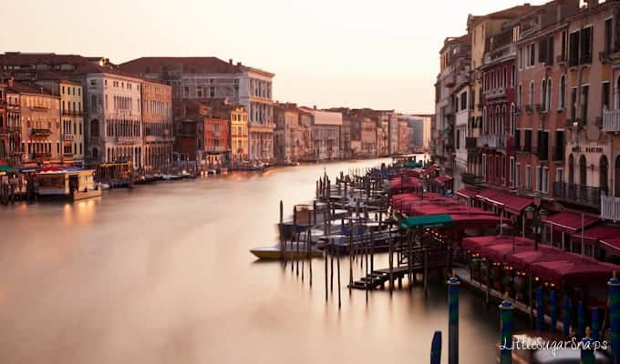 Daytime view of venice from the Rialto Bridge.