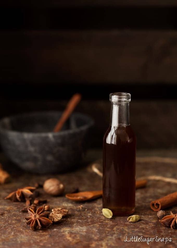 A bottle of chai spiced flavoured syrup