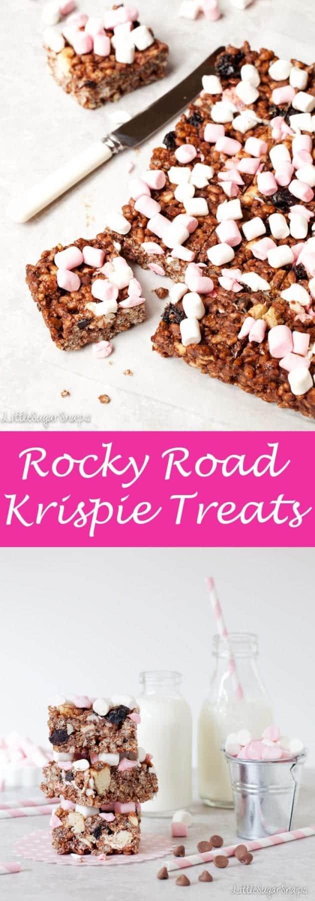Rocky Road Krispie Treats #krispietreats #rockyroad #krispiesquares