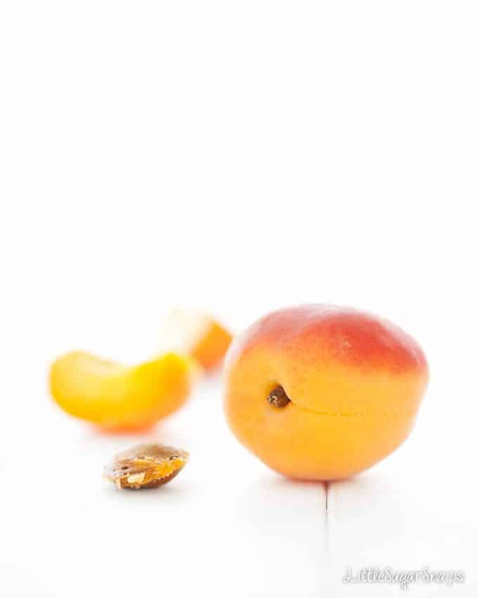 Fresh apricot and an apricot stone on a table