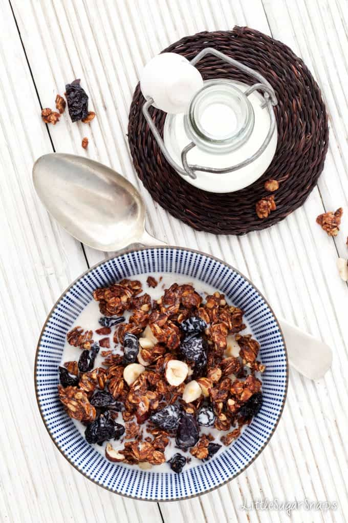 A bowl of chocolate granola with dried cherries and hazelnuts