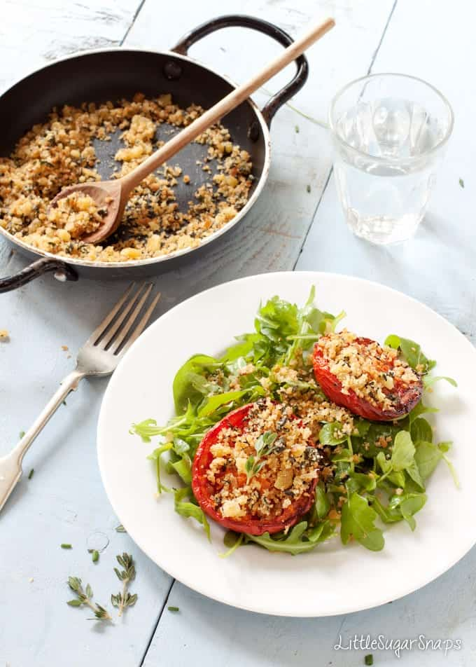 Roast tomatoes topped with herb breadcrumbs