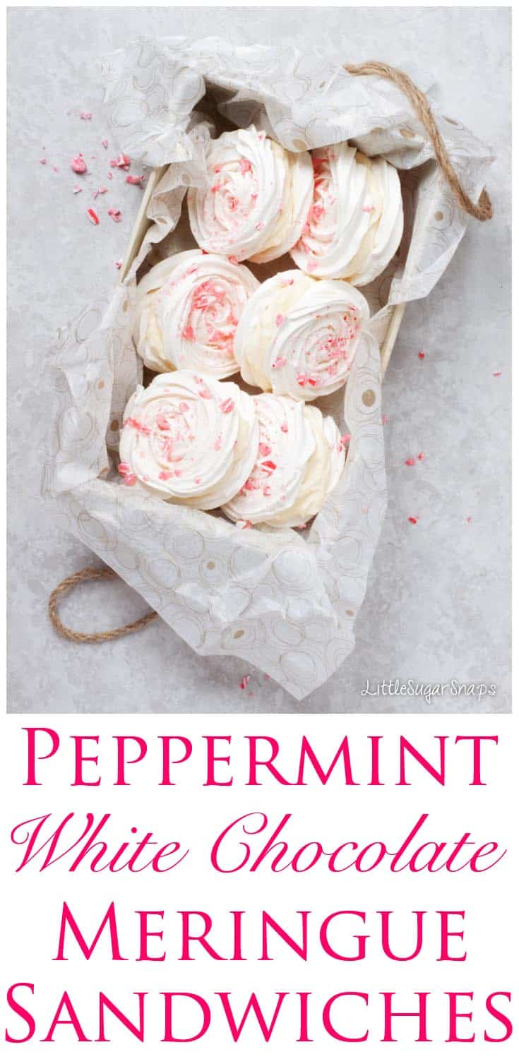 Chocolate Peppermint Meringue Sandwiches make a wonderfully fun addition to your festive dessert options. The crispy shells give way to a soft & cool white chocolate centre and the sprinkling of crushed candy canes is both pretty and divinely minty.