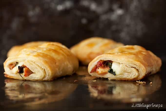 Spinach Ham Pastry Rolls