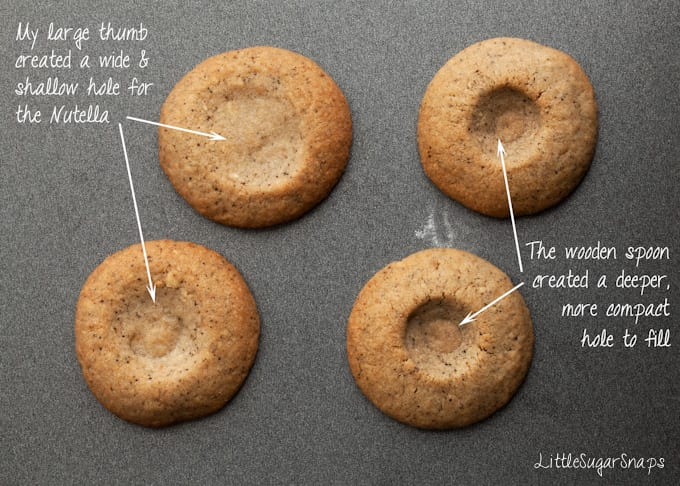 Process shot to show difference between two cookies